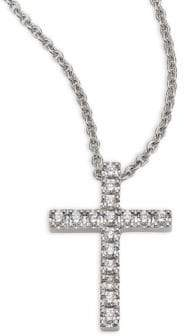 De Beers Classic Diamond& 18K White Gold Cross Pendant Necklace