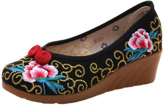 AvaCostume Women National Flavor Embroidery Color Rope Flats Dress Shoes, 36