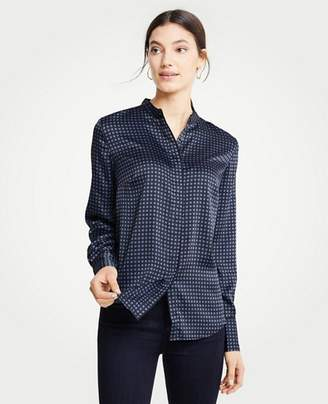 Ann Taylor Petite Geo Piped Covered Button Down Blouse
