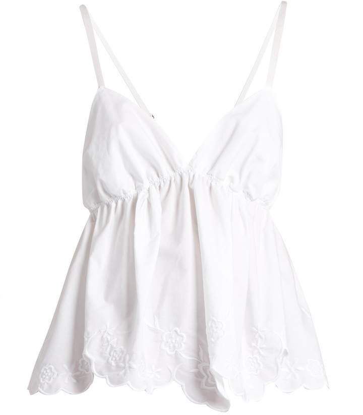 See By ChloeSEE BY CHLOÉ Floral-embroidered cotton-poplin cami top