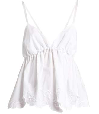See by Chloe Floral-embroidered cotton-poplin cami top