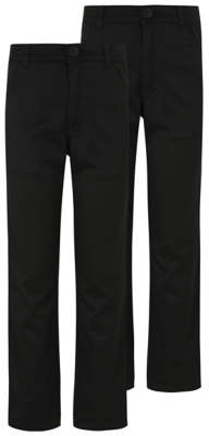 George Boys Black Skinny Leg Adjustable Waist School Trousers 2 Pack