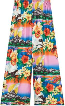 Gucci Hawaiian print silk pajama pant