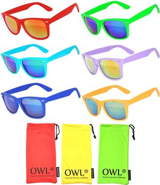 OWL Wholesale Bulk Matte Colored Mirrored and Smoke Lens Sunglasses 14 pairs