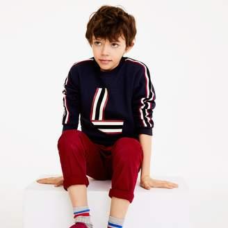 Lacoste Boys' Banded Crewneck L-Print Cotton Sweatshirt