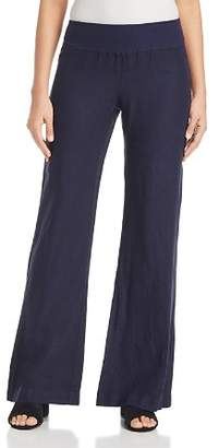 Three Dots Linen Wide-Leg Pull-On Pants
