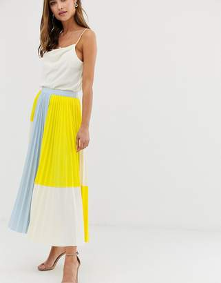 Asos Design DESIGN color block pleated midi skirt in scuba
