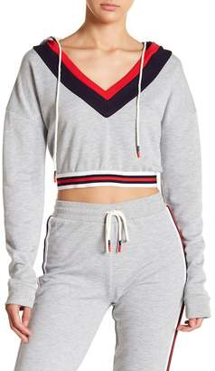 OnTwelfth Striped V-Neck Cropped Hoodie