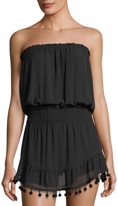 Ramy Brook Marcie Strapless Coverup Dress with Pompoms