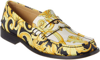 Versace Hibiscus Print Leather Loafer