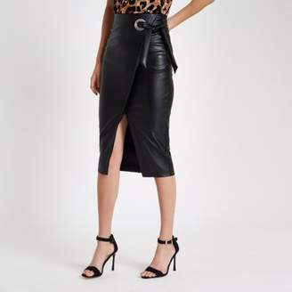 River Island Black faux leather wrap tie-up pencil skirt
