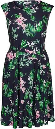Evans Navy Blue and Pink Floral Print Dress