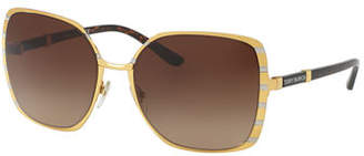 Tory Burch Striped Square Metal Sunglasses