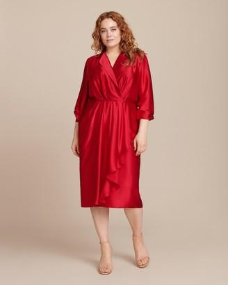b4ca80278e368 Jason Wu Collection Silk Charmeuse Long Sleeve Collar Day Dress