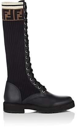 Fendi Women's Leather & Knit Combat Knee Boots