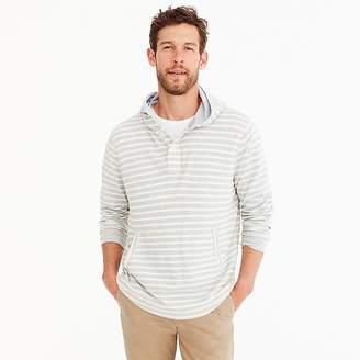 J.Crew Beach thermal henley hoodie in heather grey stripe