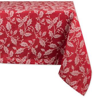 "Design Imports Holly Flourish Jacquard Tablecloth 60"" x 120"""