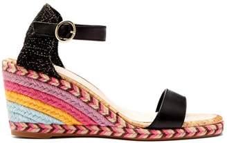 Sophia Webster Lucita Rainbow Raffia Wedge Sandals - Womens - Black Multi