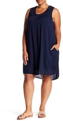 Bobeau Crochet Yoke Dress (Plus Size)