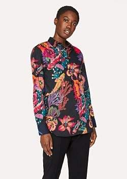 Paul Smith Women's Black 'Ocean' Print Cotton Shirt