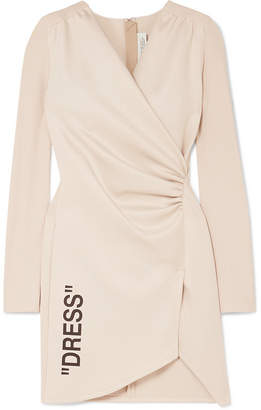 Off-White Ruched Printed Stretch-crepe And Jersey Mini Dress - Beige
