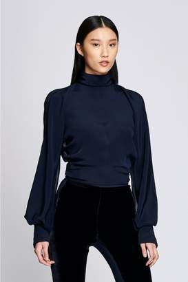 Cushnie Navy High Neck Blouse With Billowing Sleeves