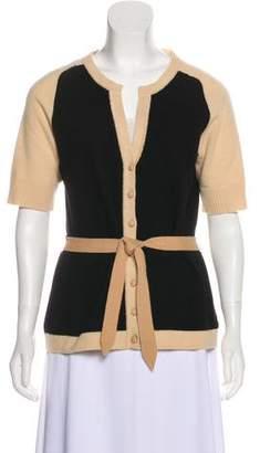 Diane von Furstenberg Cashmere Short Sleeve Button-Up Sweater