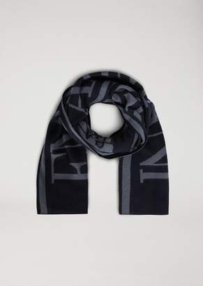 Emporio Armani Scarf With Embroidered Logo And Contrasting Side Bands
