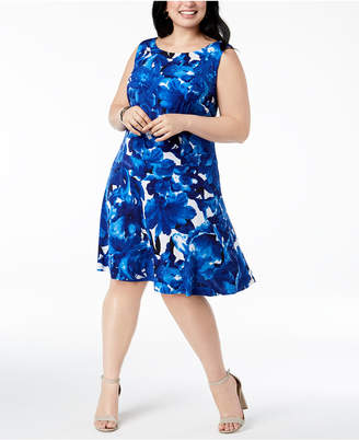 Connected Plus Size Printed Drop-Waist Dress