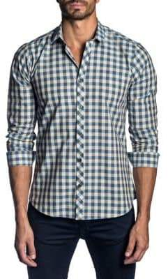 Jared Lang Trim-Fit Cotton Check Sport Shirt