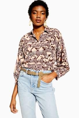 Topshop Womens Zebra Print Shirt - Pink