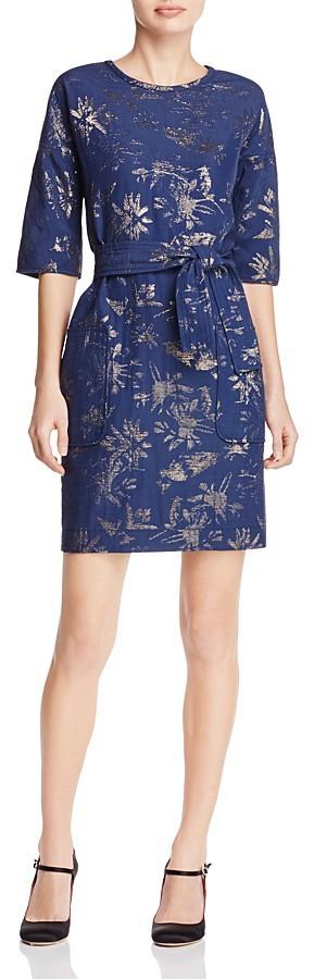 Paule KaPAULE KA Metallic Floral Shift Dress