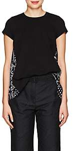 Sacai Women's Jersey & Satin T-Shirt-Black