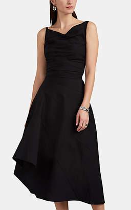 Narciso Rodriguez Women's Draped Textured Cotton-Blend Asymmetric Dress - Black