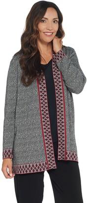 Susan Graver Cotton Rayon Jacquard Open Front Cardigan