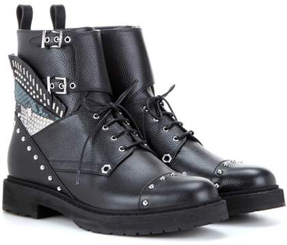 Fendi Embellished leather combat boots