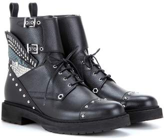Fendi Embellished leather combat boots