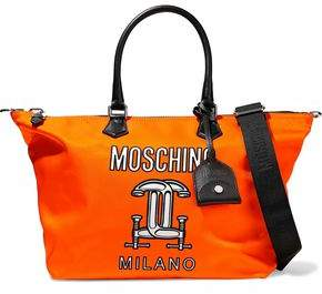 Moschino Construction Leather-Trimmed Printed Shell Tote