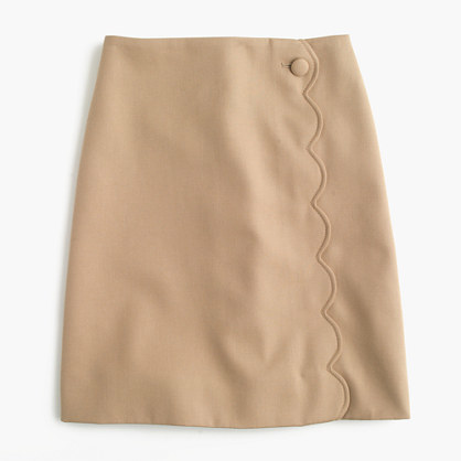 J.Crew Tall scalloped skirt in wool-cotton gabardine