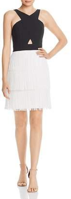 Aidan Mattox Tiered Fringe Cocktail Dress