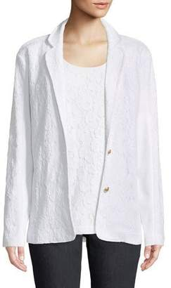 Joan Vass Floral Lace Two-Button Jacket, Petite