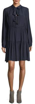 See by Chloe Long-Sleeve Tie-Neck Dress