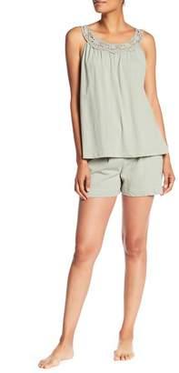 Catherine Malandrino Cutout Tank Top & Shorts Pajama 2-Piece Set