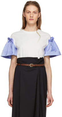 Edit White and Blue Satin Frill Sleeve T-Shirt