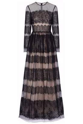 Mikael Aghal Pleated Paneled Lace And Tulle Gown