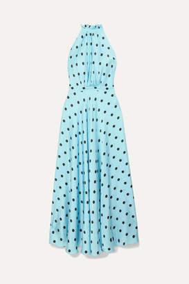 Raquel Diniz Giovanna Polka-dot Silk-satin Halterneck Maxi Dress - Blue
