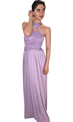 846a831ff93d 4Now Fashions Long Purple Infinity Bridesmaid Dress Convertible Multiway