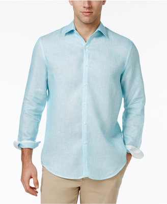 Tasso Elba Men's Textured 100% Linen Long-Sleeve Shirt, Only at Macy's $75 thestylecure.com