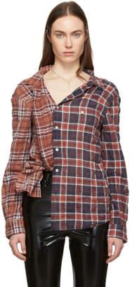 R 13 Burgundy and Orange Plaid Off-The-Shoulder Shirt