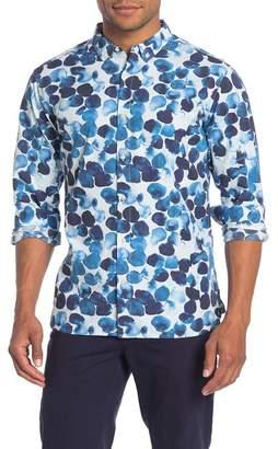 Knowledge Cotton Apparel Watercolor Dot Long Sleeve Trim Fit Shirt